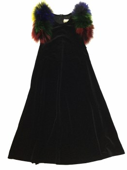 Velour Robe W. Colored Fur Bla