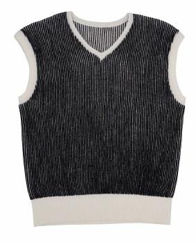 Ribbed Vest Black/White 14