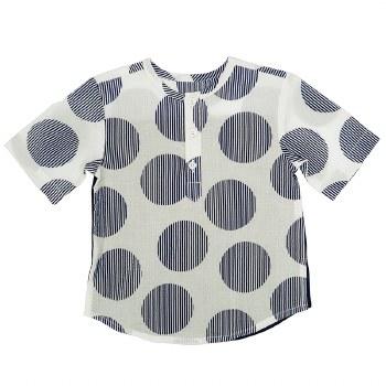 S/S Textured Circle Shirt Navy