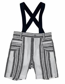 Striped Suspender Shorts Black