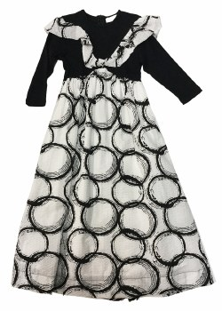 Circle Print Robe Black/White