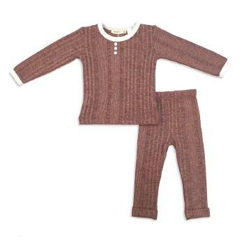 Marled Ribbed Baby Set Mauve 2