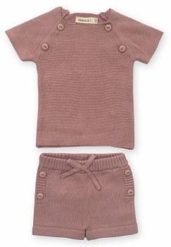 Knit Short Set Blush 12M