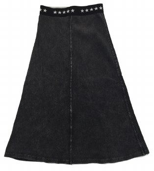 Long Ribbed Denim Skirt Grey 8
