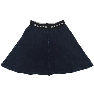 Ribbed Denim Skirt Blue 7