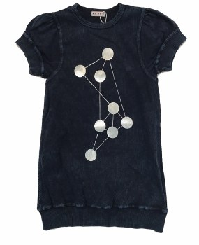 Ribbed Denim Dot Dress Dark 3