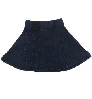 Panelled Denim Skirt Dark 4