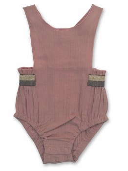Romper W/ Metallic Stripes Pin