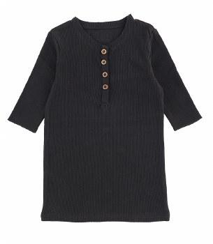 Ribbed Button Tshirt Black 8