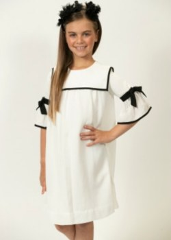 Dress w/ Collar White/Black 6