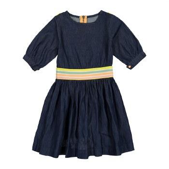 Denim Dress w/ Striped Band Da