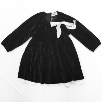 Pleated Velvet Dress Black 6