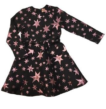 Metallic Stars Dress Black/Pin