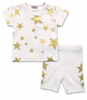 S/S Gold Stars Set White 6M