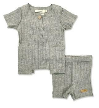 S/S Ribbed Baby Set Grey 12M