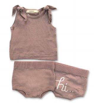 Knit Baby Bloomer Set Mauve 9M