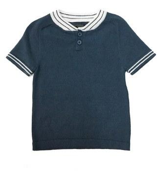S/S Sweater W/ Stripe Trim Blu