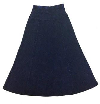 Long Denim Wash Skirt Dark 7