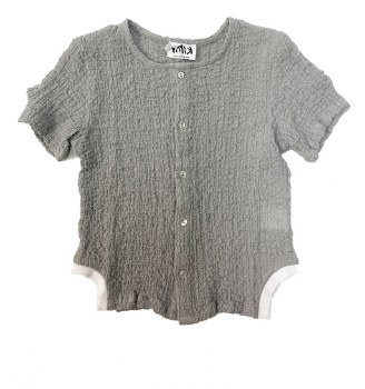 Crinkle Shirt W/ Trim Grey 3