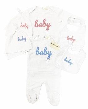 3pc Baby Stretchie Set White/P