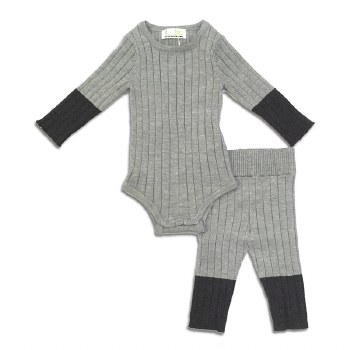 Ribbed Knit Baby 2pc Grey 3M