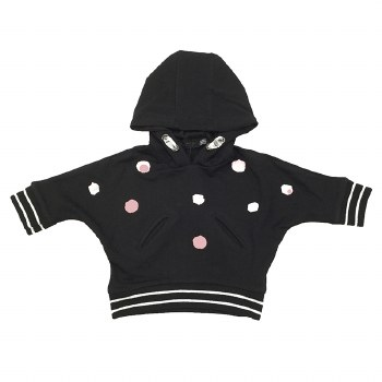 Hoodie Top W/ Band Black/Pink