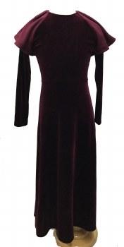 Velour Robe w/ Shoulder Rufle