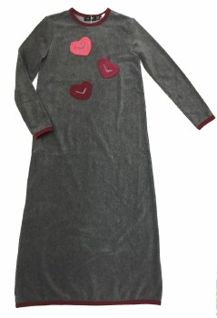 Velour NG W/ Hearts Grey/Burgu