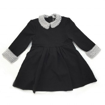 Dress W/ Fur Trim Black/White