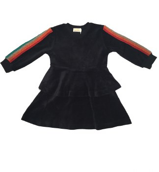 Velour Dress W/ Rainbow stripe