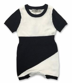 Knit Romper Black/White 12M