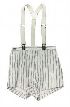 Metallic Striped Overalls Whit