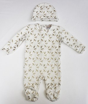 Gold Print Stretchie Set White