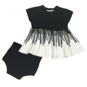 Knit Baby Set Black/White 6M