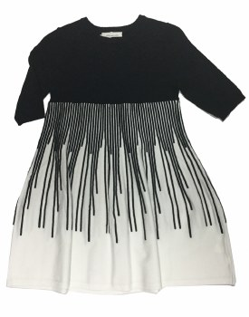Knit Contrast Dress Black/Whit