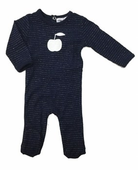 Metallic Stripe Stretchie Navy