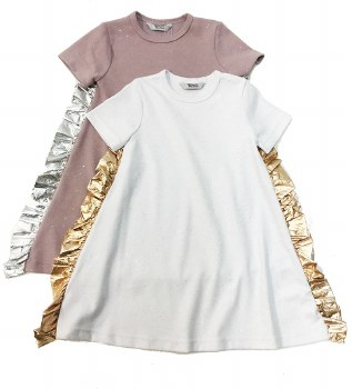 Dress w/ Metallic Ruffle White