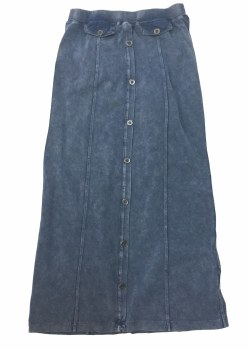 Long Skirt W/ Buttons LtDenim