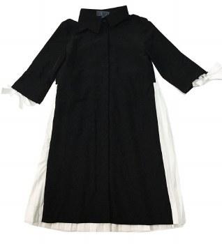Dress W/ Pleated Back Black/Wh