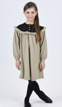 Dress W/ Ruffle Bib Taupe 5