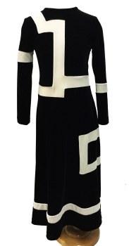 Contrast Velour Robe Black/Cre