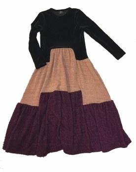 Velour Robe W/ Knit Panels Bla