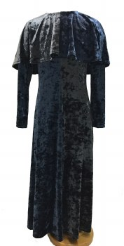 Crushed Velour Cape Robe Grey/