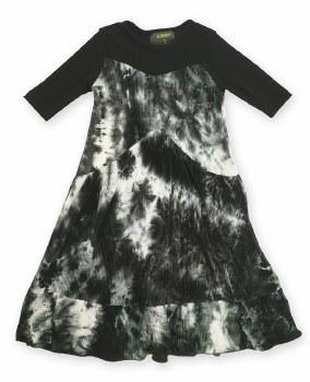 Crinkle Pleat Ombre Robe Black