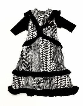 Printed Ruffle Robe Black/Whit