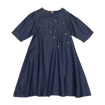 Denim Dress w/ Pearls Dark 7