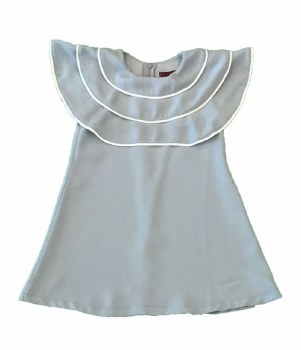 Dress W/ Ruffled Collar Steel