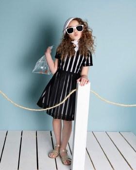 Dress w/ Mesh Stripes Black 12