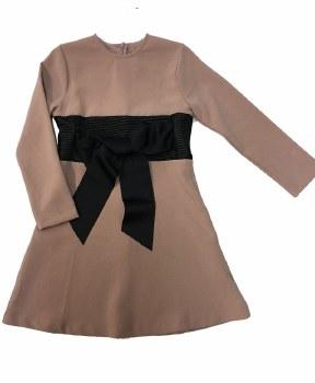 Dress w/ Ribbed Leather Waist