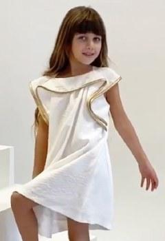 Dress w/ Gold Trimmed Ruffle C